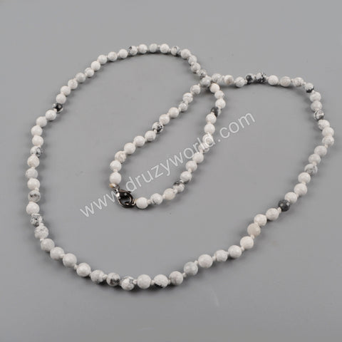 1 piece White Howlite Turquoise Faceted Beads Long Necklace JT160