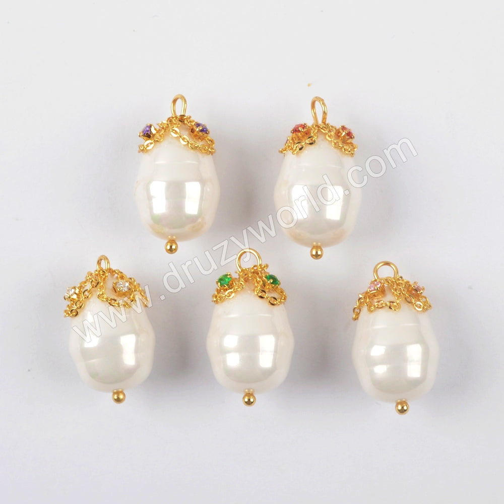 Gold Plated Natural Pearl With Multi CZ Charm WX1275