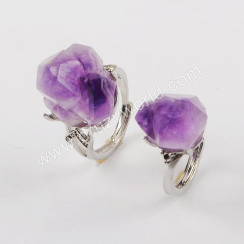 Silver Plated Natural Amethyst Faceted Open Ring ZG0433