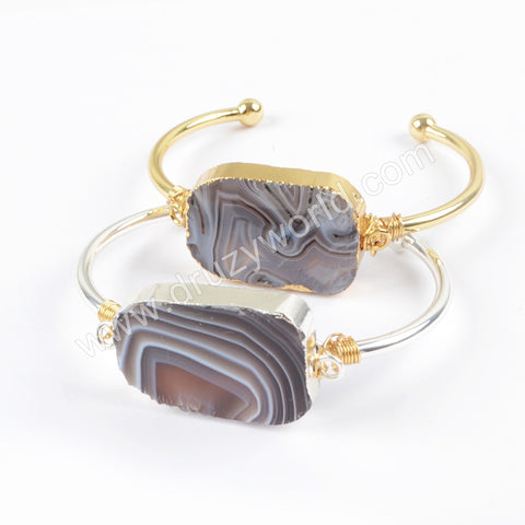 Gold Plated Handmade Wire Wrapped Botswana Agate Bangle Cuff In Silver Jewelry