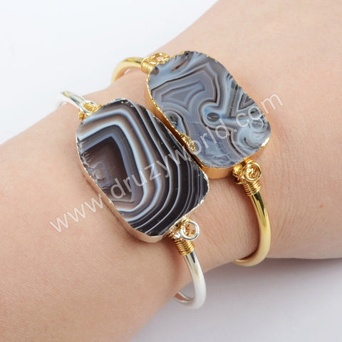 Handmade Wire Wrapped Botswana Agate Bangle Cuff In Silver Plated S1664