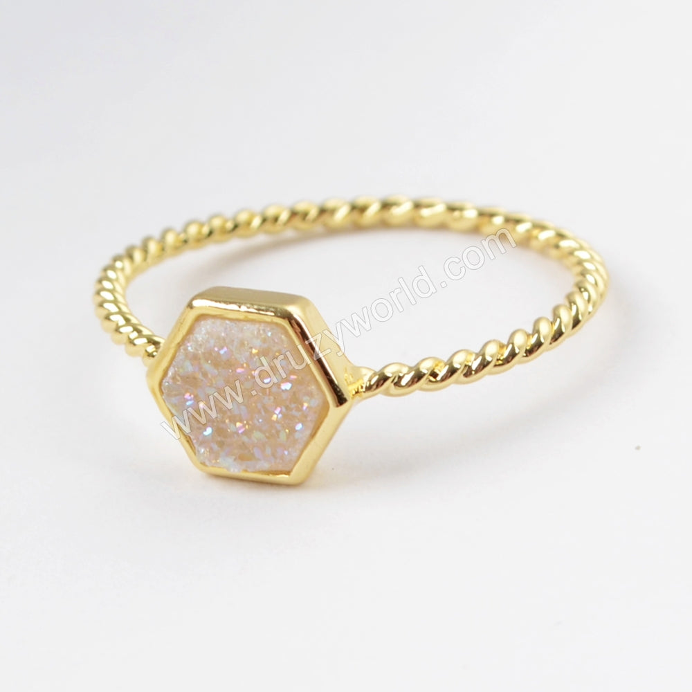 Hexagon Gold Plated Natural Agate Titanium Rainbow Druzy Bezel Ring ZG0294