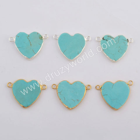 Heart Gold Plated Howlite Connector G1782