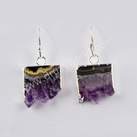 Natural Amethyst Slice Druzy Dangle Earrings Silver Plated WX1355