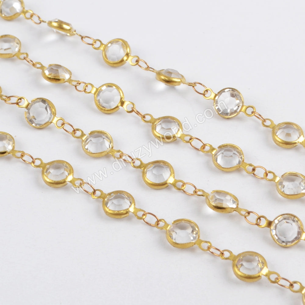 5m/llot,Gold Plated 7mm White Crystal Faceted Coin Rosary Chains JT197
