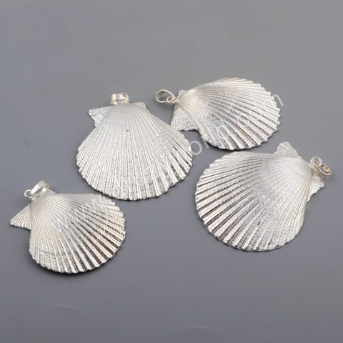 Scallop Fan Shell Pendant Fashion Jewelry For Necklace Silver Plated S1760