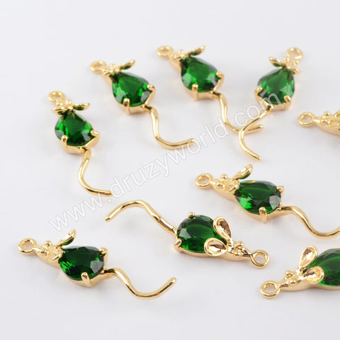 10 pieces Glass Charm Making Jewelry Supply Gold Plated Brass PJ432