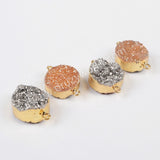 Round Gold Plated Natural Agate Titanium Champagne & Silver Druzy Connector Double Bails,Double side druzy, G1090