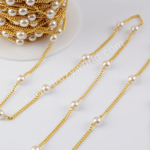 Pearl Rosary Chains In Gold Plated Jewelry Necklace JT269