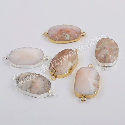 Pink Opal Faceted Connector Fashion Jewelry For Women Silver Plated S1864