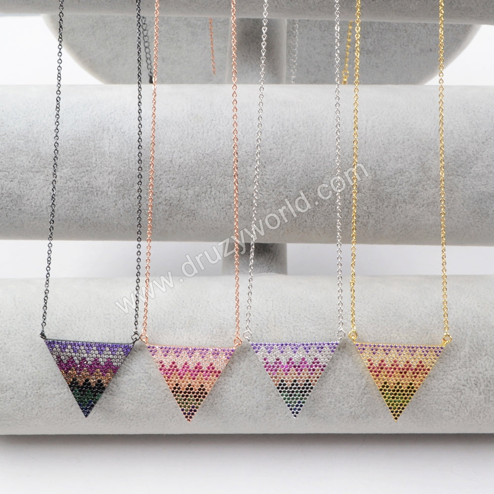 CZ Micro Pave Triangle Connetcor Necklaces WX494