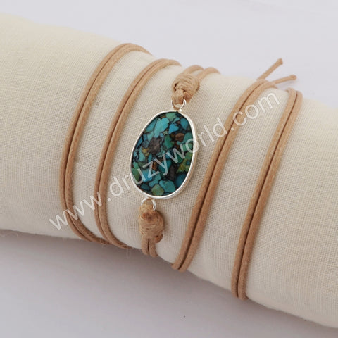 Silver Plated Black Turquoise Wrap Bracelet HD0024