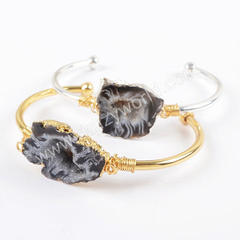 Wholesale 18K Gold Plated Wire Wrapped Natural Druzy Slice Bangle In Silver