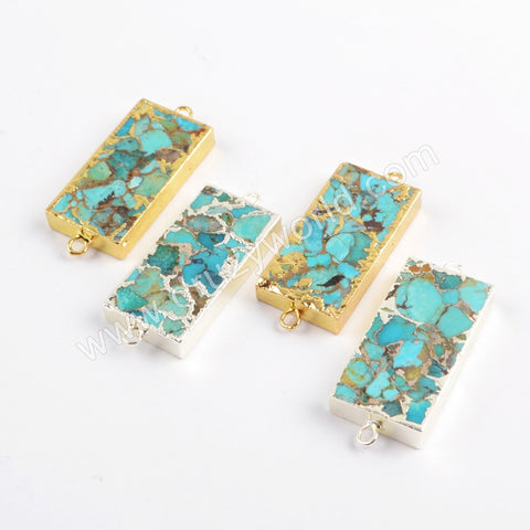 Rectangle Gold Plated Copper Turquoise Connector G1699