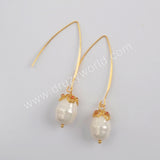 Gold Plated Natural Pearl With Multi CZ Charm Earrings WX1275-E