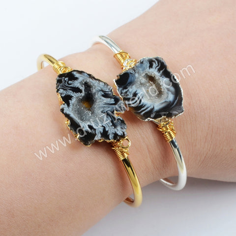 Natural Druzy Slice 18K Wire Wrapped Bangle Wholesale Bracelet Silver Plated S1665