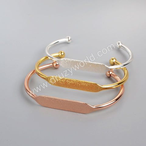 Gold Plated/Silver Plated/Rose Gold Plated Brass Blank Bangle Settings Golden Flat Cuff Bracelet Bangle Making PJ026-G//S/R