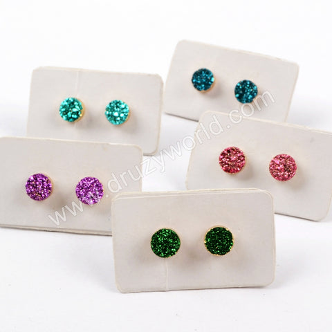6mm Round 18K Gold Plated Titanium Druzy Studs For Women G1619
