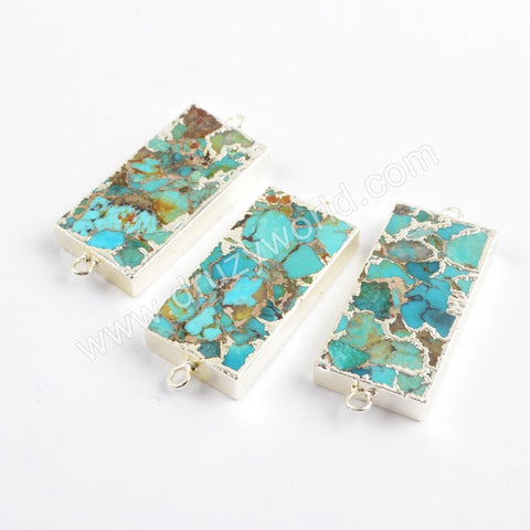 Copper Turquoise Connector Fashion Jewelry Making Silver Plated  S1699
