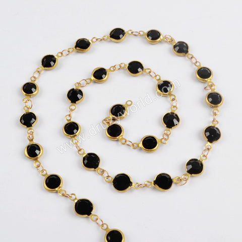 5m/lot,Gold Plated 7mm Black Crystal Faceted Coin Rosary Chains JT198