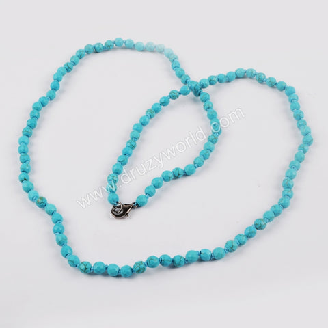1 piece Blue Howlite Turquoise Faceted Beads Long Necklace JT161