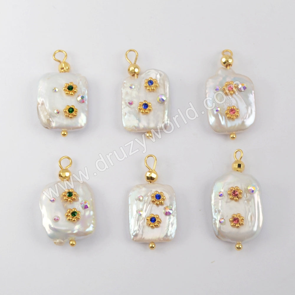 Gold Plated Natural Pearl With Multi CZ Charm WX1276