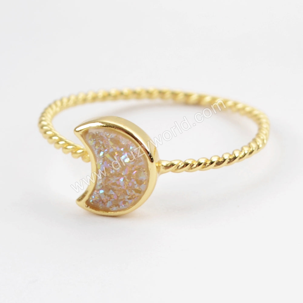 Crescent Gold Plated Natural Agate Titanium Rainbow Druzy Bezel Ring ZG0295