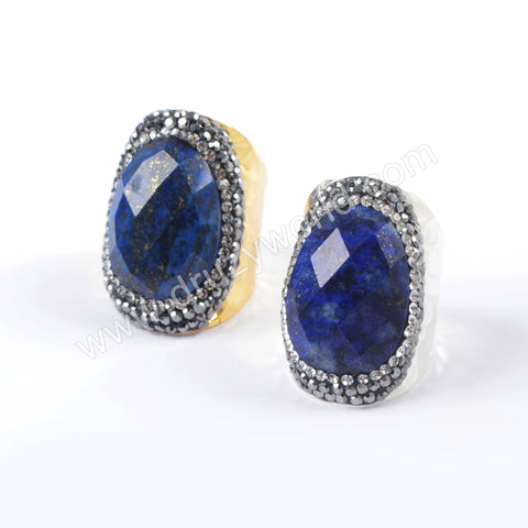Gold Plated Rhinestone Pave Natural Lapis Ring In Silver JAB947