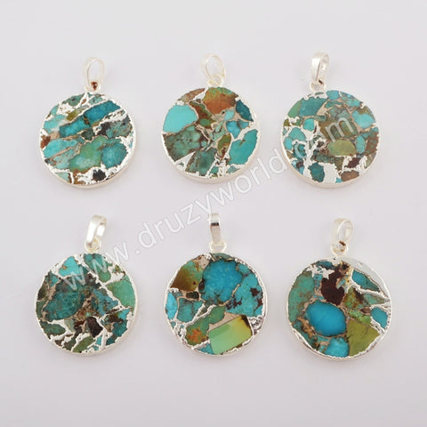 Copper Turquoise Pendant Charm Fashion Jewelry Making Silver Plated S1686