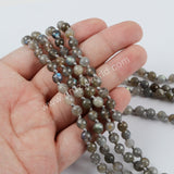1 piece Natural Labradorite Faceted Beads Long Necklace JT162