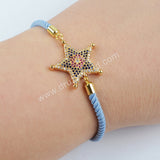 CZ Micro Pave Zirconia Rainbow Star Cotton Rope Bracelet WX697