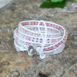 Strands Rose Quartz Gemstone Bead Silver Wrap Bracelet HD0080