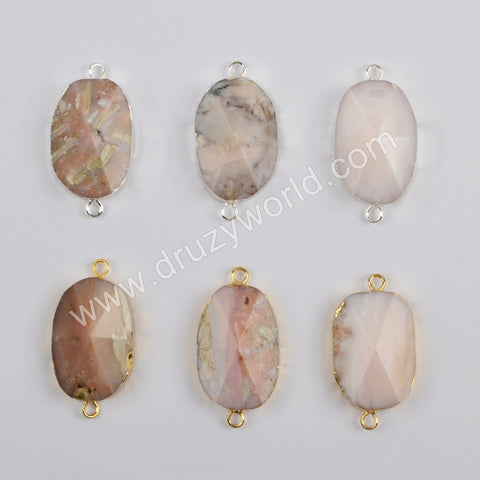 Gold Plated Pink Opal Faceted Connector G1864
