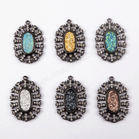 CZ Micro Pave Crystal Man-made Druzy Black Pendant WX883
