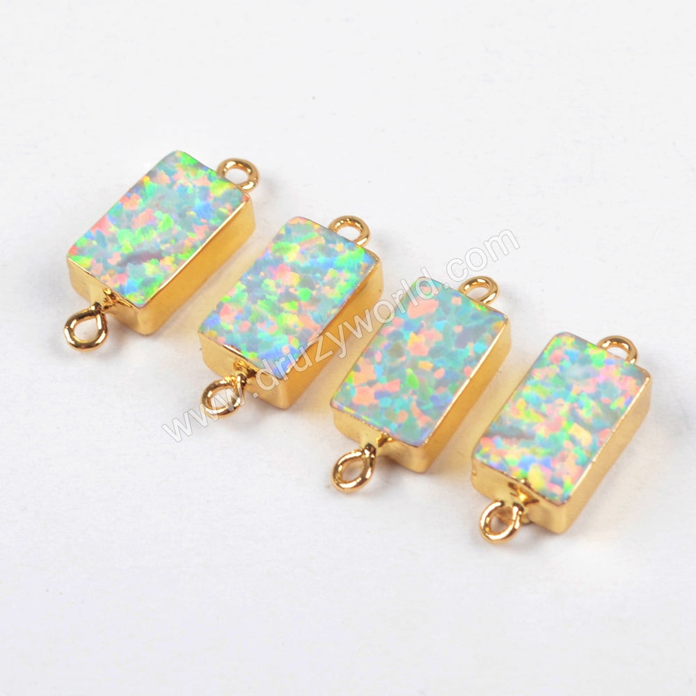 Rectangle Gold Plated White Opal Connector G1461