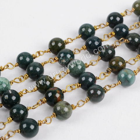 5m/lot,Gold Plated 8mm Round Green India Agate Beads Wire Wrapped Rosary Chain JT124