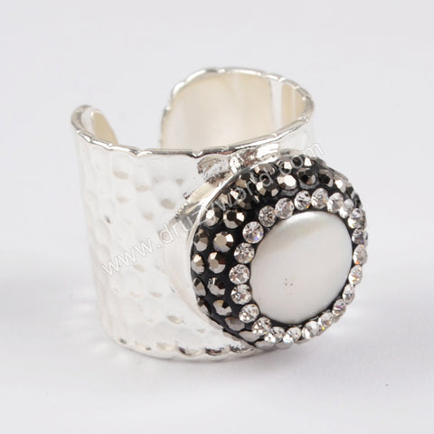 Silver Plated Natural Pearl Ring Pave Rhinestone JAB795