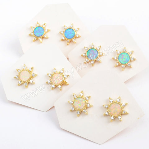Star Gold Plated CZ Micro Pave White Opal Druzy Studs Earring ZG0390