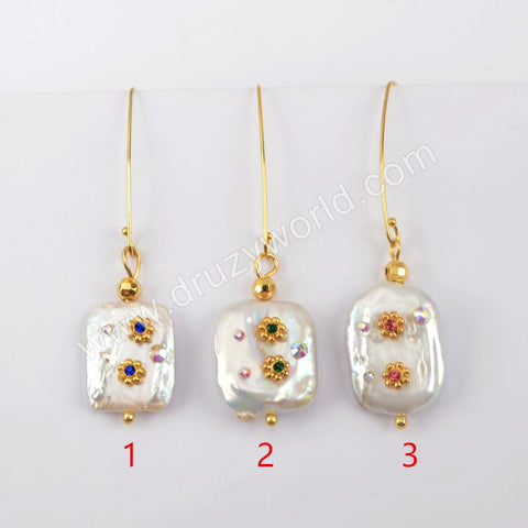 Gold Plated Natural Pearl With Multi CZ Charm Earrings WX1276-E