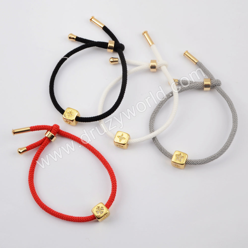CZ Micro Pave Adjustable Fashion Bracelet For Couple Gold Plated WX1339-B