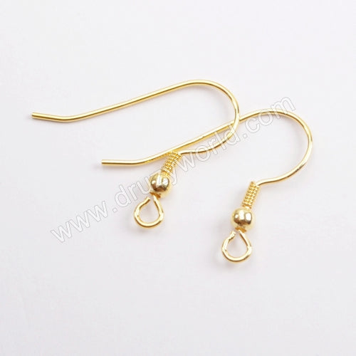5pairs/lot,Gold Plated 925 Sterling Silver Fish Hook PJ154