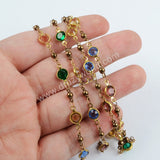 5m/llot,Gold Plated 7mm Rainbow Crystal Faceted Coin Rosary Chains JT199