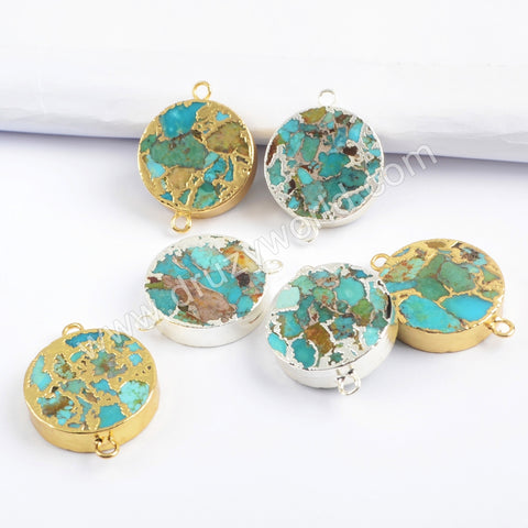 20mm Round Gold Plated Copper Turquoise Connector G1700