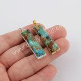 Natural Copper Turquoise Faceted Gemstone Pendant Silver Plated S1762