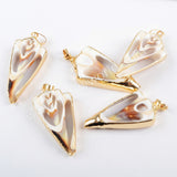 Gold Plated Natural Shell Slice Pendant Summer Holiday Jewelry Shell Findings G1667