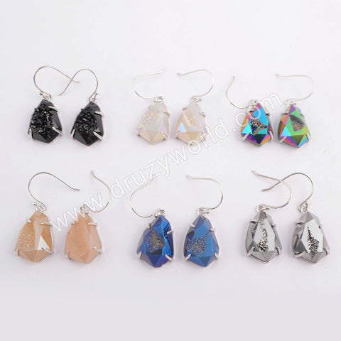 Silver Plated Claw Rainbow Titanium Druzy Faceted Earrings ZG0349