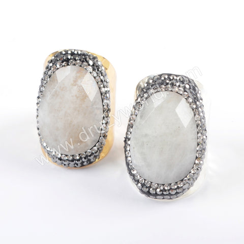 Gold Plated Rhinestone Pave Natural White Stone Ring In Silver JAB948