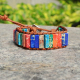 Boho Semi Precious Natural Stone Beaded Bracelets For Women Leather Wrap Bracelet HD0066