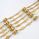 Gold Plated Diamond Facet Cut Brass Chain PJ088