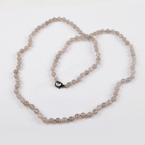 1 piece Natural Grey Agate Faceted Beads Long Necklace JT163